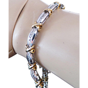 10K Two Tone Gold Kisses Diamond Tennis Bracelet