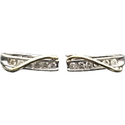 Gorgeous 10 Karat White & Yellow Gold Two Tone Gold 1/4 Carat Diamond Hoop Earrings