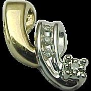14k Two Tone Gold Diamond Pendant /Slide