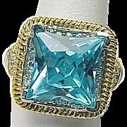 Sterling Silver / Vermeil 6.00 Carat Faux London Blue Topaz And Faux Diamond Ring