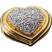 Sterling Silver /Vermeil 1.00 Karat Simulated Diamond Puffed Heart Slide Pendant