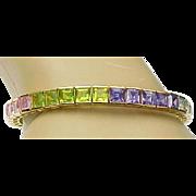 Vintage Sterling Silver/Vermeil Multi Colorful Gemstone CZ Bracelet