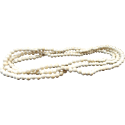 Vintage White Agate 3.75 mm Beaded Necklace