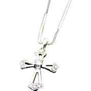 "14K White Gold Diamond Cross Necklace 18"""