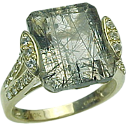 10K Gold Rutilated Quartz & White Sapphire Ring, Circa 1980's