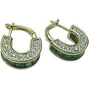 14K Yellow Gold, Emerald & Diamond Huggie Earrings