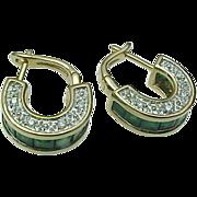 14K Yellow Gold, Emerald & Diamond Huggie Earrings