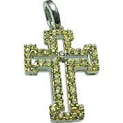 14K White Gold Sapphire & Diamond CROSS Pendant