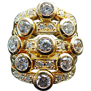 Stunning Vermeil 2.54 Carat Five Row Simulated Diamond Ring ~ Circa 1995