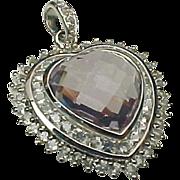 14K White Gold, Amethyst & White Topaz Heart Pendant ~ Circa 1980's