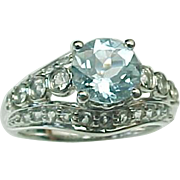 14K White Gold 1.25 Carat Aqua & White Topaz Ring