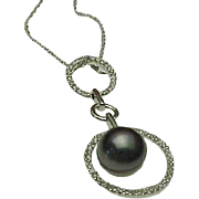 14K White Gold, diamond & Tahitian Pearl Floating Pendant