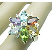 10K Yellow Gold, Multi Gemstone Flower Ring ~ Circa 1980's