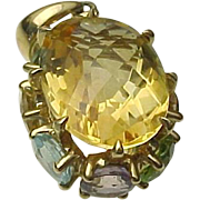 10K Yellow Gold 9 Carat Faceted Citrine & Gemstone Pendant