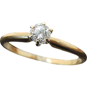 14K Yellow Gold .25 Carat Diamond Solitaire Ring