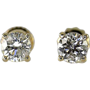 14k Yellow Gold .50 Carat Diamond Screw Back Studs