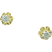 14K Yellow Gold .50 Carat Simulated Diamond Buttercup Studs