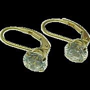14k Yellow Gold .75 Carat Faux Diamond Lever Back Drop Earrings