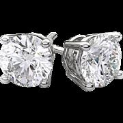 14K White Gold (3/4) Carat Diamond Screw Back Studs