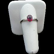 14K White Gold .75 Red Spinel & Baguette Diamond Ring