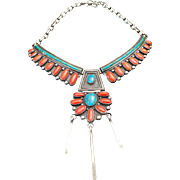 Zuni Sterling Silver Bisbee Turquoise & Red Coral Hinged Drop Necklace