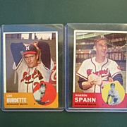 1963 Vintage Topps Baseball Cards Set of 2 Lou Burdette and Warren Spahn