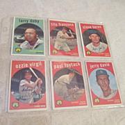 Vintage Topps 1959 Baseball Cards Detroit Tigers 6 Card Set
