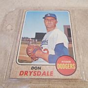 Vntage 1968 Topps Baseball Card # 145 Don Drysdale