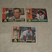 Vintage 1960 Topps Baseball Cards Set of 3