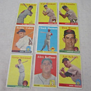 Vintage Topps 1958 Baseball Cards Set of 9