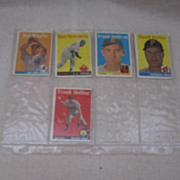 Vintage 1959 Topps Baseball Cards Set of 5
