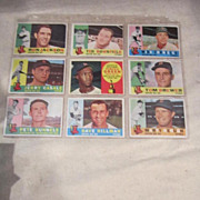 Vintage 1960 Topps Baseball Cards Set of 9