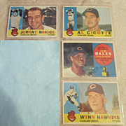 Vintage 1960 Topps Baseball Cards Set of 4 Cleveland Indians