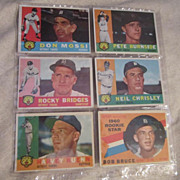 Vintage 1960 Topps Baseball Cards Set of 6 Detroit Tigers