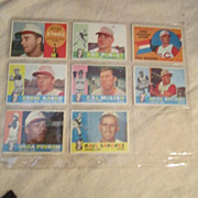 Vintage 1960 Topps Baseball Cards Set of 8 Cincinnati Reds