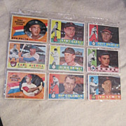 Vintage 1960 Topps Baseball Cards Set of 9 Cards