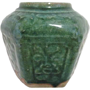 Antique Qong Dynasty Green Stoneware Hexagon Food Container