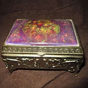 Vintage Brass Trinket Box with Ceramic inlaid Top by Mele
