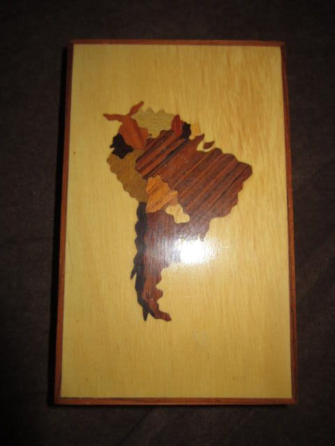 Vintage Box with Wood Inlay of South America on Lid