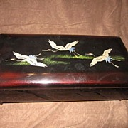 Vintage Black Lacquer Japanese Music Box with Cranes