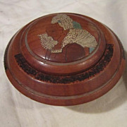 Vintage French Hand Carved Wood Trinket Box