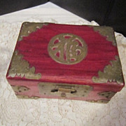 Vintage Small Chinese Wooden Box with Brass Fixtures