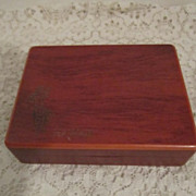 Vintage Hinged Wooden Box from Hawaii with Inlay