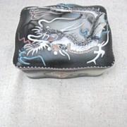 Japanese Slip Dragon Hand Painted Cigarette Box