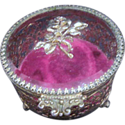 Gold Tone Three Footed Filigree Casket Box with Rose