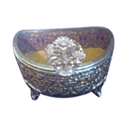 Semi-Circle Gold Tone Filigree Casket Jewelry Box with Glass Lid
