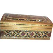 Hinged Lid Box with Inlaid Woods and Mother of Pearl