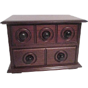 Two Drawer Dark Wood Trinket Chest