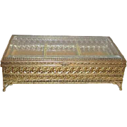 Divided Gold Tone Filigree Casket Box with Beveled Glass Lid