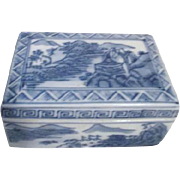 Asian Blue and White Ceramic Lidded Box